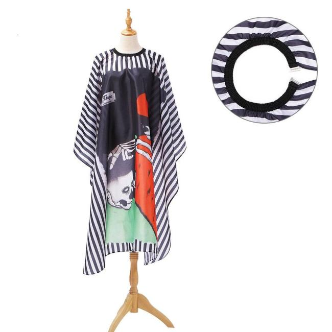 Cool Skull Haircut Hairdressing Barber Cloth Black Chambray Apron Polyester Hair Styling Design Supplies Salon Barber Gown