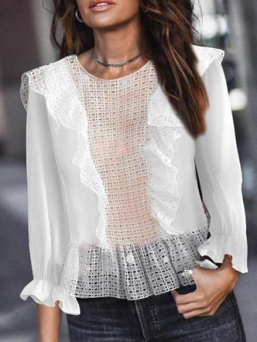 Modern Hollow Out Inwrought Long Sleeve Shirt