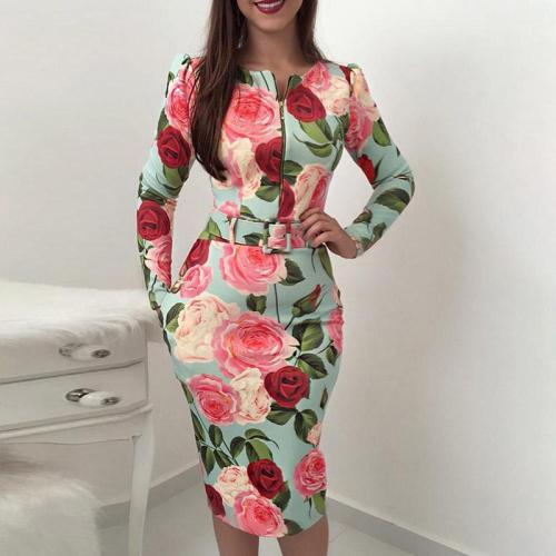 Sexy Slim Office Pencil Belt Printing Dresses