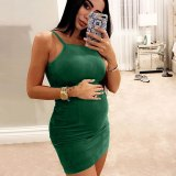 Sleeveless Solid Maternity Dresses Women Solid Pregnant платье Vest Straps Solid Maternity Sleeveless Sexy Dress Sundress