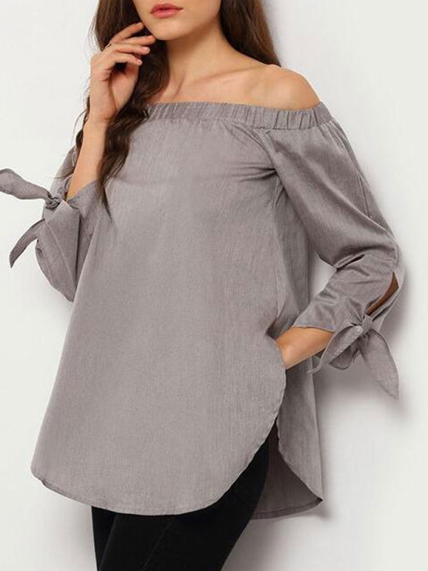 Spring  Polyester Women Tie Sleeve Three-Quarter Sleeve Blouses
