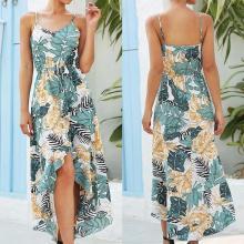 Women Floral Print Bohemian Dress Sleeveless Patchwork Ruffles Empire Slim Irregular Long Dress