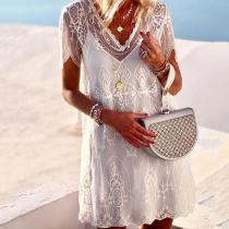 Elegant V Neck Embossed Short Sleeve Pure Colour Mini Dress