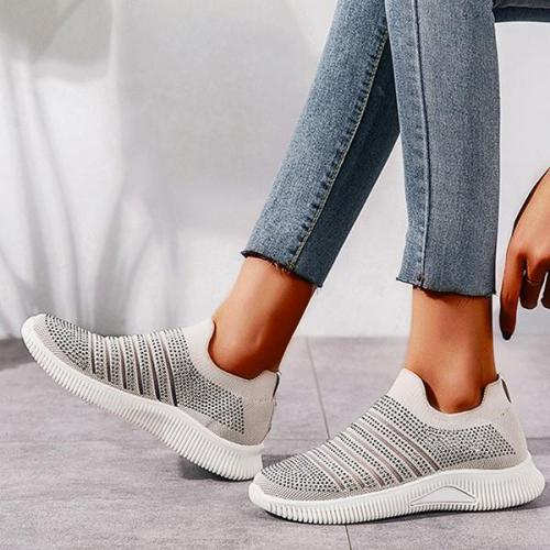 EBUYTIDE Rhinestones Hollow-out Stripe Slip On Sneakers