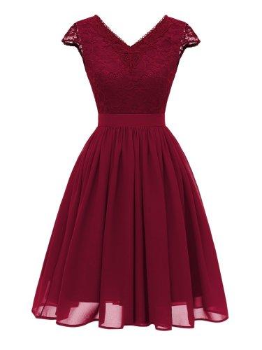 1950S Lace Patchwork Chiffon Dress