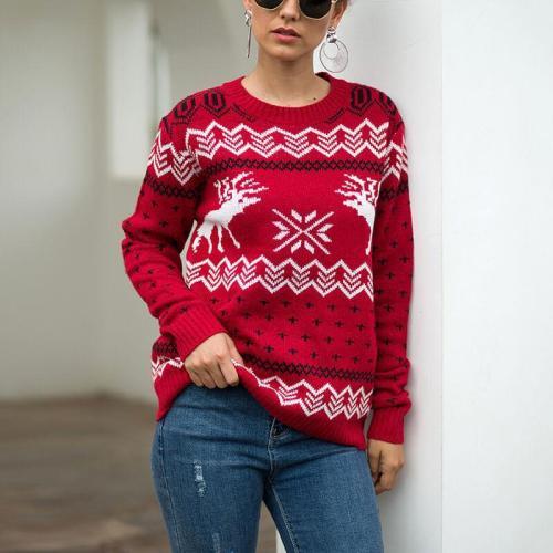 Christmas Snowflakes Reindeer Knit Sweater