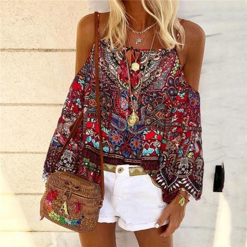 Bohemian Strapless Shoulder Sling Print Shirt