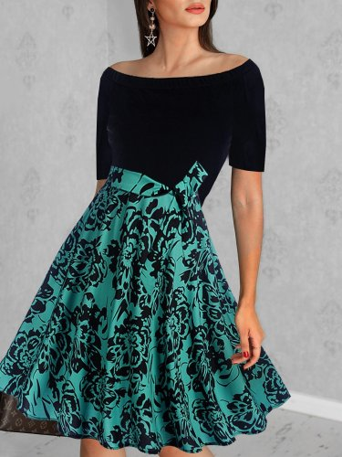 Word Collar  Abstract Print Colouring Skater Dress