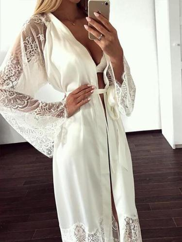 Lace Bandage Long Sleeve Cover-up Swimwear