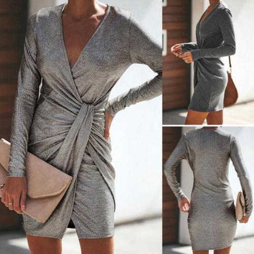 Casual Sexy Pure Color Slim V-Neck Drape Wrap Hip Mini Dress