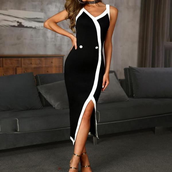 Sexy Slim Split Low-Cut Dress