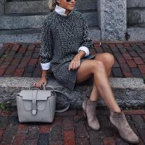 casual loose fake two-piece folding collar midi sweater