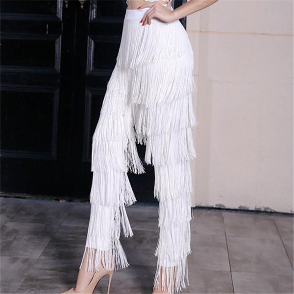 Fashion High-Waisted Fringe Straight Pants