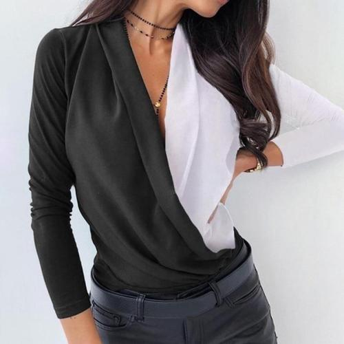Office Lady V-Neck Shirts Elegant Tops Women Fashion Blocks Cross Shirts Spring Long Sleeve Blouse Shirt