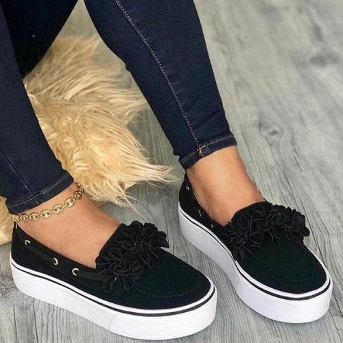 EBUYTIDE Women's Sinple Style Flower Slip On Sneakers