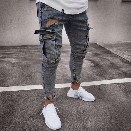 Street Hole Zip Pocket Jeans