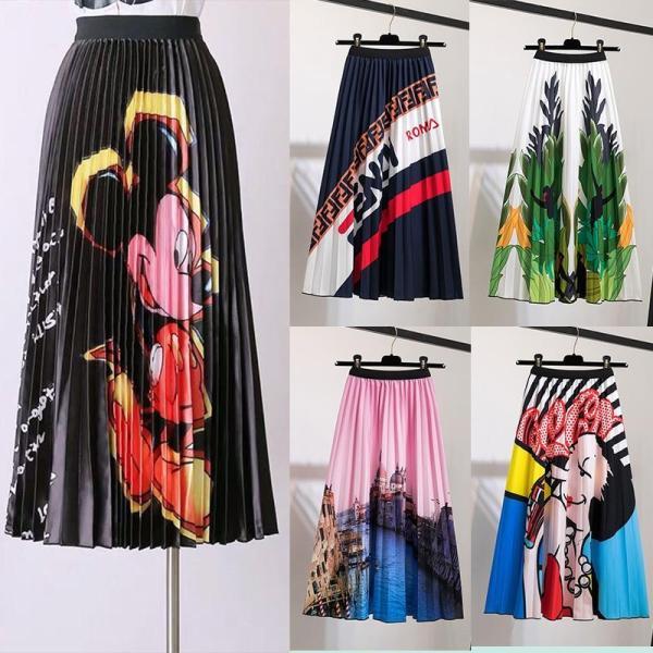 Pleated Skirt Women's Summer 2020 New Mickey Cartoon Printing Women's Skirt All-match Slim Expandable high waist Skirts Fashion