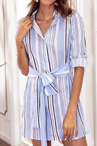Calladream Women Stripe V-Neck Long Sleeve Cotton Dress