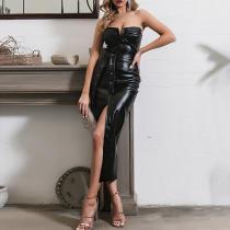 Fashion Tube Top Leather Bodycon Dress