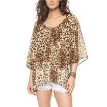 Round Neck Half Flare Sleeve Leopard Printed Chiffon Blouses