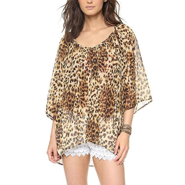 Round Neck Half Flare Sleeve Leopard Printed Chiffon Blouses