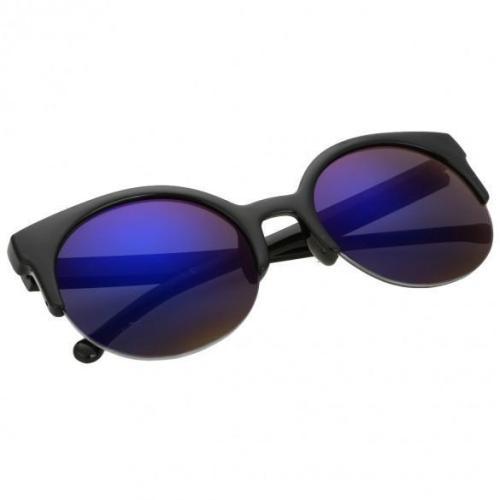 Unisex Retro Designer Super Round Circle Cat Eye Semi-Rimless Sunglasses