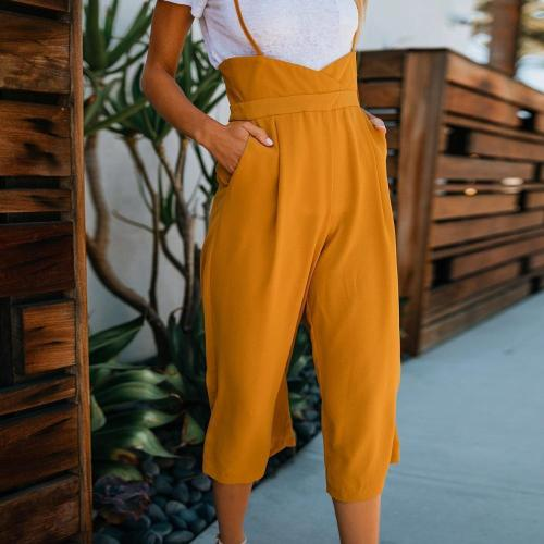Olid Color Strap Wide Leg Pants