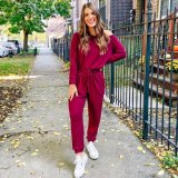 EBUYTIDE Temperament Solid Color Round Neck Long Sleeve Fitted Jumpsuit