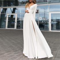 Fashion V Collar Chiffon Split Evening Dresses