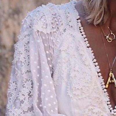 White Boho Lace Dress Women Long Sleeve V Neck Solid Beach Summer Dresses Bohemian Ladies Mini Short Dress Female 2020 Spring