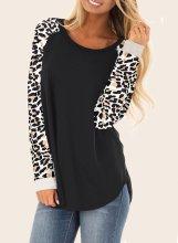 Casual Leopard Black Long Sleeve Hoodie