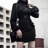 EBUYTIDE Gothic Blazer Dress Women Black Sexy Mini Dresses 2020 High Waist Harajuku Goth Girl Zipper Punk With PU Leather Belt