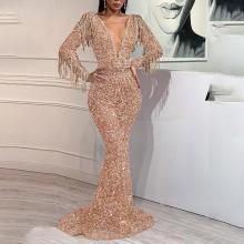 Sexy Deep V Long Sleeve Fishtail Evening Dress