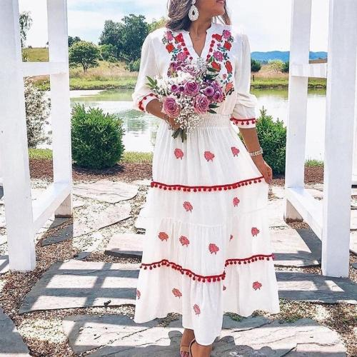 Sweet Long Sleeve Printed Holiday Casual Maxi Dress