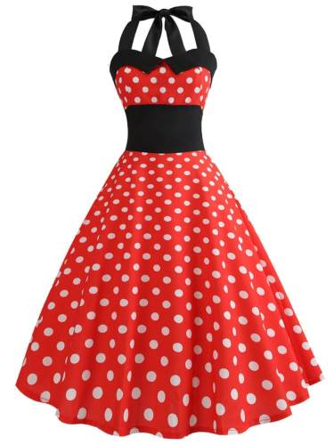 Red 1950s Polka Dot Bow Dress