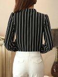 Split Neck  Patch Pocket  Striped Blouse