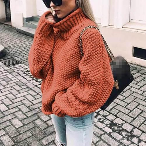 Turtleneck Balloon Sleeve Crocheted Chunky Sweater