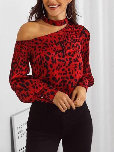 Fashion Sloping Shoulder Leopard Print Shirt