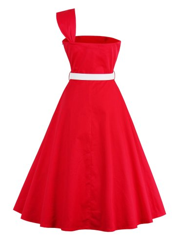 Women Vintage Dresses 2020 Summer Hot Chic One Shoulder Sexy Elegant Belt Red Sweet 1950s A Line Ladies Party Retro Day Dress