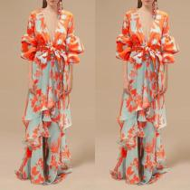 Sexy Deep V Neck Floral Printed Lantern Sleeve Maxi Dress