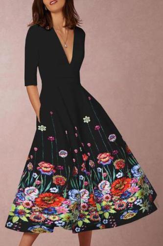 EBUYTIDE Deep V-Neck Floral Printed Skater Dress