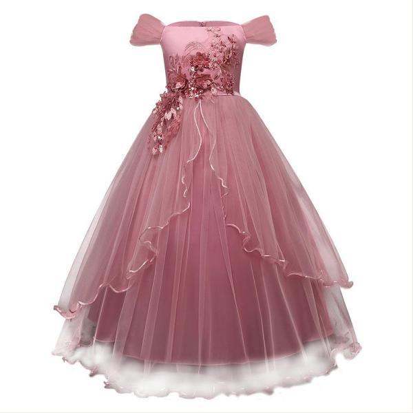 Girl Dress Kids Ruffles Lace Party Wedding Dresses
