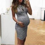 New Fashion Women Pregnant Maternity Nursing Solid Breastfeeding Summer Daily Sleeveless Dress