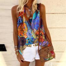Fashion V-Neck Printed Colour Vest