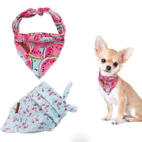 2 Pcs Unique Style Paws Dog Cat Bandana Dog Accesseries Pet Product Gift for Dog Bandage Bandana Collar Flower Blue Melon