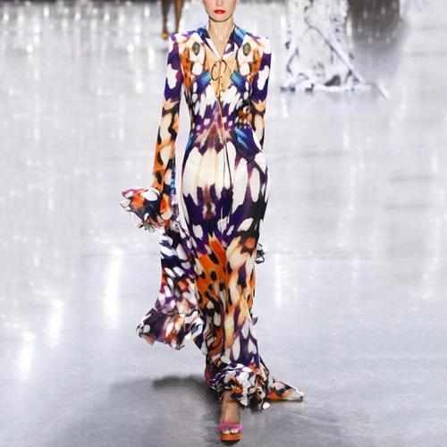 Casual Sexy Deep V   Neck Long Sleeve Printing Maxi Dress
