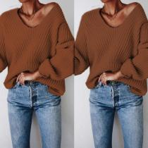Solid Color Headband Strap Fashion V-Neck Knit Sweater