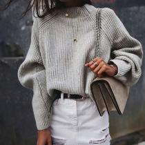 Solid Color Fashion Turtleneck Sweater