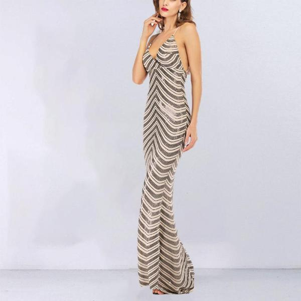 Sling Open Back V-neck Sequined Mopping Evening Dress