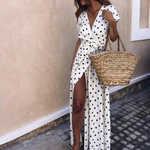 Fashion Polka Dot Deep V Belted Short Sleeve Maxi Dresses
